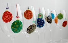 Christmas Ornaments Wine Glasses - 6 Piece Hand Painted Holiday Glassware Collection by MaryElizabethArts on Etsy https://www.etsy.com/listing/112943800/christmas-ornaments-wine-glasses-6-piece