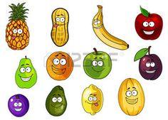 fruit cartoon: Cute apple, banana, orange, plum, peanut, avocado, pineapple, lemon, melon, pear cartoon characters isolated on white background