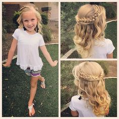 All ready for school! Hope you all have a wonderful Wednesday! We did a hairsty., HAİR STYLE, All ready for school! Hope you all have a wonderful Wednesday! We did a hairstyle inspired by just little girls style! Wedding Hairstyles For Girls, Dance Hairstyles, Flower Girl Hairstyles, Little Girl Hairstyles, Cute Hairstyles, Hairstyles For School, Updos For Little Girls, Childrens Hairstyles, Instagram Hairstyles
