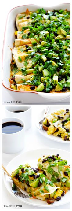 Breakfast Enchiladas -- easy to make, and filled with all of your favorite breakfast casserole ingredients! | gimmesomeoven.com