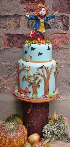 "Cake Art! ~ ""Kicking Leaves"" ~ Fall Occasion Cake ~ all edible"