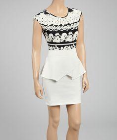 Loving this Off-White Flourish Peplum Dress on #zulily! #zulilyfinds