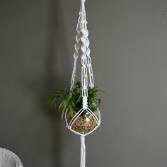 White macrame plant hanger