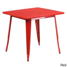 Offex Home Indoor 31.5-Inch Square Metal Cafe Table (Red)