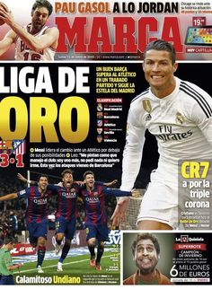 Liga de Oro Marca 12 de Enero 2015 Cristiano Ronaldo, Neymar, Soccer, Baseball Cards, Omega, Ballon D'or, January, Athlete, Sports