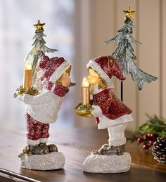 Kissing Boy And Girl Holiday Candle Set - a nostalgic favorite for you old-time Christmas