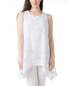 Another great find on #zulily! White Sheer Lace Sleeveless Handkerchief Tunic by Kaktus #zulilyfinds