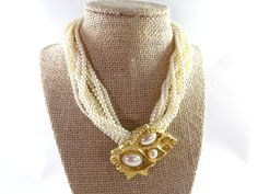 Large gold Pearl Statement Choker Necklace by RusticWayTreasures