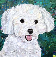 poodle maltese maltipoo Pet Pieces custom collage pet portrait made from magazine clippings. Dog Quilts, Animal Quilts, Collage Portrait, Collage Art, Dog Pop Art, Paint Your Pet, Dog Artwork, Animal Photography, Equine Photography