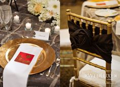 Gold chairs + black bows.