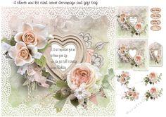 rose and lace mini kit by Cynthia Berridge 8x8 mini kit card insert decoupage plus gift bag