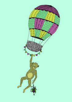 Affe Balduin an Ballon - Illustration loretta cosima Tweety, Snoopy, Illustration, Fictional Characters, Art, Paper Mill, Handarbeit, Schmuck, Nice Asses
