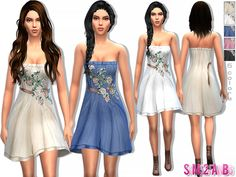 The Sims Resource: 16 – Designer floral dress by Sims2fanbg • Sims 4 Downloads