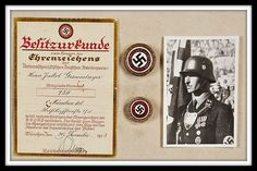 """The bestowal certificate and respective gold NSDAP badges named to Jakob Grimminger (seen at the right), who was the ceremonial bearer of the Nazi """"Blutfahne"""" (""""blood flag"""") carried during the abortive Beer Hall Putsch revolutionary attempt of November 9, 1923."""