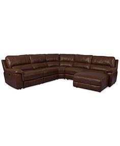 Brandie Leather 5-Piece Chaise Sectional Sofa with Power Recliner  sc 1 st  Pinterest : bronson recliner - islam-shia.org