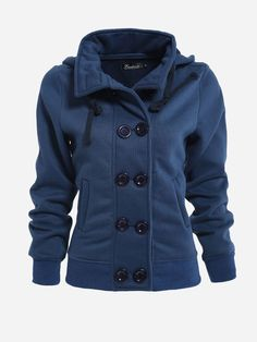 Fold-over Collar Double Breasted Pockets Plain Hoody Only $12.86 USD More info...