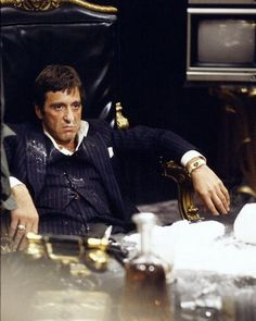 "Al Pacino as Tony Montana in ""Scarface."" ""Who do I trust? Me!"" I could watch it a million times!"