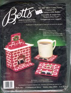 1991 Vtg Plastic Canvas Kit Christmas Coaster Coasters Fireplace Holder Santa #Betts