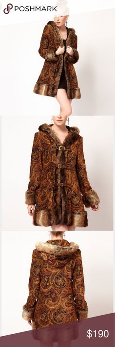 Mink pink Hendrix coat This coat is so beautiful I hate that I'm selling it. An amazing fur trim longline coat with a fur trimmed hood (faux fur of course) with the most awesome paisley print throughout. Fully lined. MINKPINK Jackets & Coats