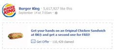 FACEBOOK COUPON $$ BOGO FREE Original Chicken Sandwich at Burger King!