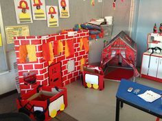 Fire station dramatic play area Dramatic Play Area, Dramatic Play Centers, Firefighter Dramatic Play, Fire Safety Week, Fire Prevention Week, Community Helpers Preschool, Role Play Areas, Kids Indoor Playground, Play Centre