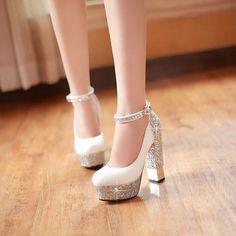 2015 mulheres pulseira de tornozelo sola vermelha de salto alto lantejoulas da plataforma do salto grosso bombas mulheres sapatos de casamento branco / prata / ouro / preto