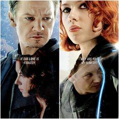 Clint and Natasha tumblr #Clintasha #blackwidow #Avengers #hawkeye