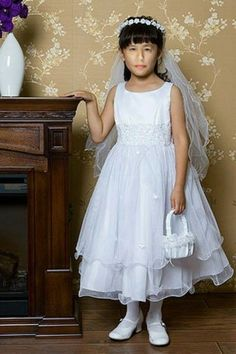 Girl's beautiful White Organza and Satin sleeveless formal dress with lace detail at waist- Star Bright in the Night Dress Satin Formal Dress, Formal Dresses, Wedding Dresses, Dress P, Lace Dress, White Dress, First Communion Dresses, Cute Baby Girl Outfits, Special Occasion Dresses