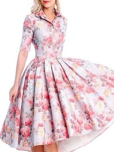 Buy Absorbing Lapel Floral Printed Vintage Skater-dress online with cheap prices and discover fashion Skater Dresses at Fashionmia.com.