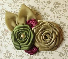 Hair flowers - sage green, forest green, and burgundy ribbon rose hair flower fascinator $24.00