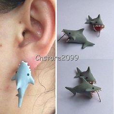 New 100% Handmade Polymer Clay Cute Shark Earrings ,Ear Stud ,925 Silver Needle in Jewelry & Watches, Fashion Jewelry, Earrings   eBay