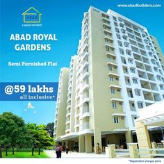 Abad Royal Gardens Flats and Apartments in Kottayam Abad Builders brings you your dream home in Kottayam, with an irresistible offer! Purchase a luxurious semi furnished apartment at Royal Gardens, apartments in Kottayam at just Rs. 59 lakhs, all inclusive!