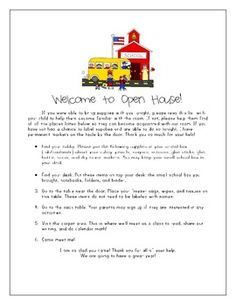 FREE First Grade Open House Packet-Includes a parent two page parent questionnare and a 1st grade supply list to mail to parents prior to the school y...