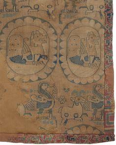 Silk saddle cover with Senmurv in roundel Central Asia, Sogdiana 8th-10th c.  Polychrome silk  cm.42 x 76