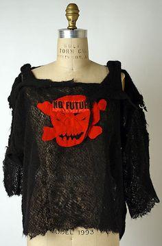 Vivienne Westwood (British, born 1941). Sweater, ca. 1980. Designer: Malcolm McLaren (British, 1946–2010). British. The Metropolitan Museum of Art, New York. Gift of Vesna Bricelj, 1989 (1989.161.1) #punkfashion