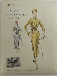 1954 Misses Slim Dress Pattern Vogue Couturier by knightcloth