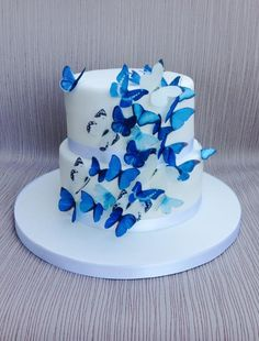 Blue butterfly wedding cake Blue butterfly wedding cake - Cake by Sweet Designs by Jo<br> Butterfly Wedding Cake, Butterfly Birthday Cakes, Butterfly Cakes, Blue Butterfly, Wedding Flowers, 16th Birthday Cake For Girls, 15th Birthday Cakes, Sweet 16 Birthday Cake, Quinceanera Cakes