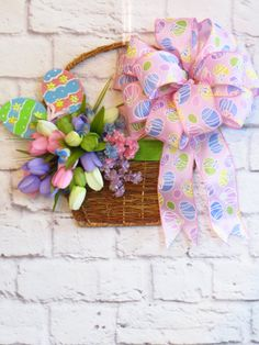 Easter Basket Wreath Spring Wreath Easter by Dazzlement on Etsy, $43.00