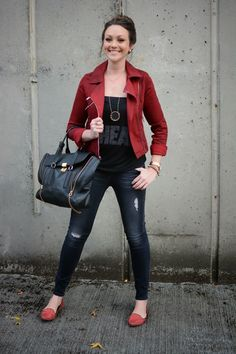 21a5b85f36b Grab a red moto jacket -- echo the bright color on your toes too! Shirt  JacketMoto JacketSeattle FashionWinter StyleAutumn ...