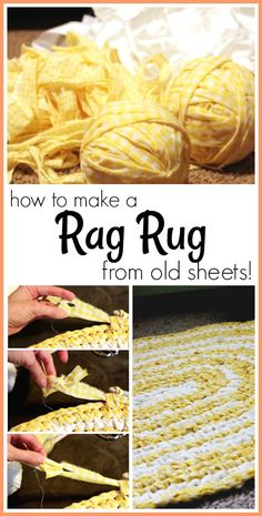 Rag Rug Tutorial - how to make a rag rug from old sheets! - love this idea! - Sugar Bee Crafts projects for the home rag rugs Rug Rag Tutorial Toothbrush Rug, Rag Rug Diy, Rag Rug Tutorial, Tutorial Crochet, Braided Rug Tutorial, Homemade Rugs, Crochet Rug Patterns, Crochet Rugs, Old Sheets