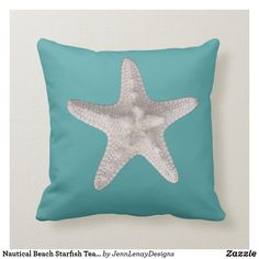 Nautical Beach Starfish Teal Summer Throw Pillow Navy Blue Throw Pillows, Blue Throws, Outdoor Throw Pillows, Dusty Blue, Custom Pillows, Starfish, Favorite Color, Nautical, Teal