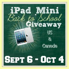 iPad Mini Giveaway!  Open to US/CANADA Ends October 4, 2013.