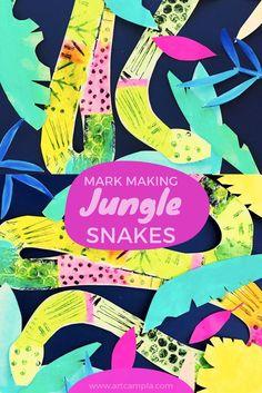 Mixed Media | Print making | Rainforest | Jungle Art | Snake art | k-8 art lessons | Mark Making | Elementary art