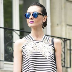 French girl stripes and purple lipstick