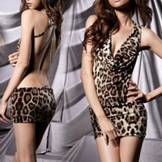 Sexy open back leopard dress/lingerie set Brand new. Has a beautiful chain detail on the back. Xs/s/m. Comes with a leopard tong Dresses