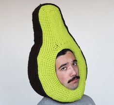 crochet food hats by phil ferguson chiliphilly Crochet Funny Hat, Crochet Humor, Crochet Food, Knit Crochet, Crochet Hats, Crochet Clothes, Knitting Humor, Knitting Yarn, Textiles