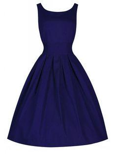 Padgene Robe Vintage 50 Années Sans Manches Casual Couleur Pur Vintage Clarity 'Audrey' Pastel Rockabilly Femme(bleu,S)