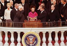 Pat Nixon holding the Bible as Richard Nixon took the oath of office, 1969. Courtesy of Associated Press