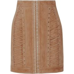 Balmain Lace-up suede mini skirt ($3,365) ❤ liked on Polyvore featuring skirts, mini skirts, sand, high-waist skirt, high waisted skirts, balmain skirt, short mini skirts and beige skirt