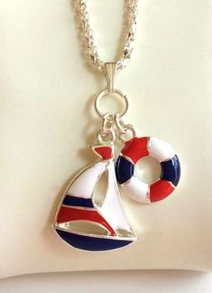 ece2973a45b9 Silver Nautical Sailboat Necklace Blue Red Island Boat Sea Plus Size Plated